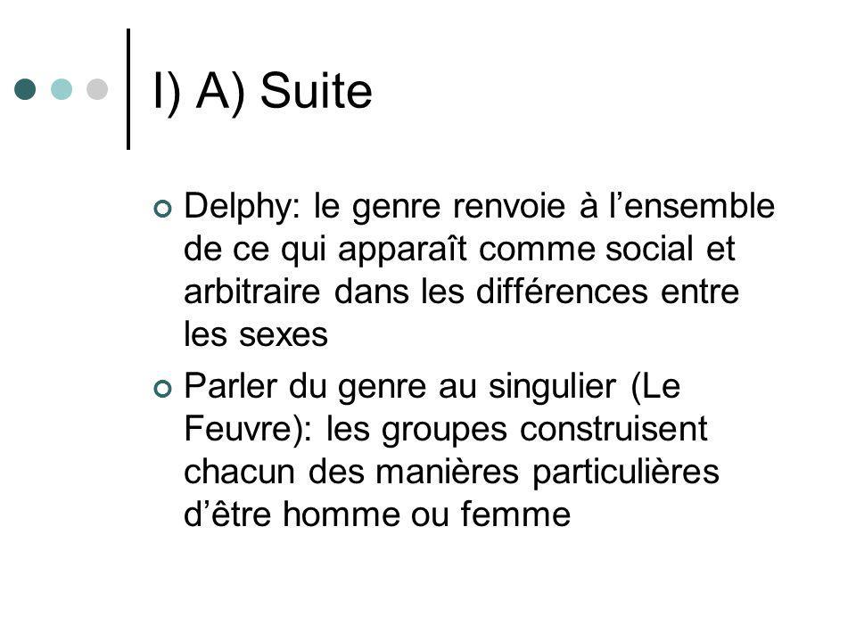 I) A) Suite Le genre signifie lexistence de rapports de pouvoir (Scott): le concept de rapports sociaux de sexe Précisions terminologiques: socialisation de genre/socialisation sexuée/socialisation sexuelle Le sexe en question: Laqueur et le modèle du sexe unique
