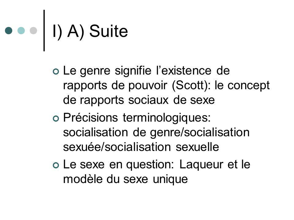 I) A) Suite Le genre signifie lexistence de rapports de pouvoir (Scott): le concept de rapports sociaux de sexe Précisions terminologiques: socialisat