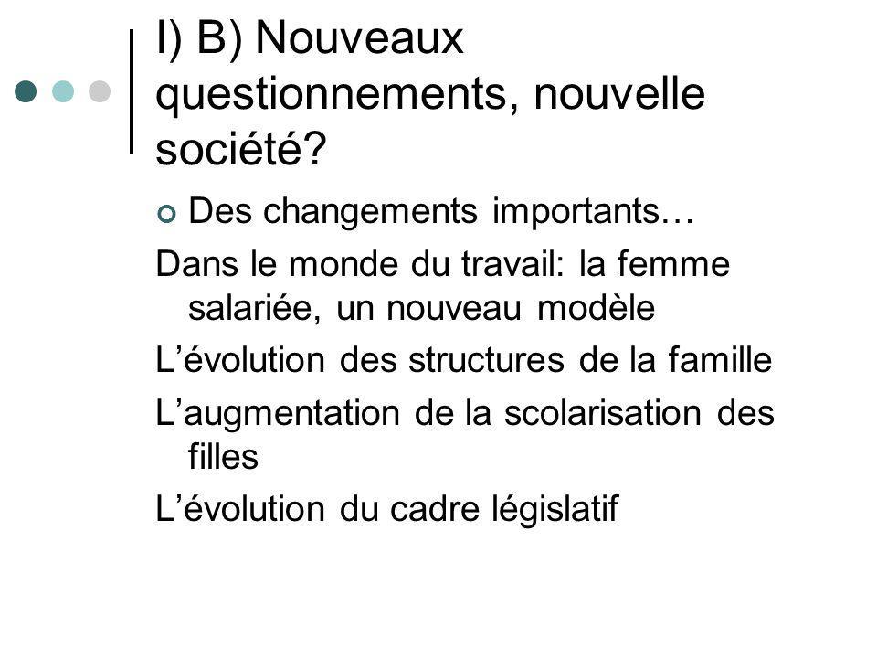 I) B) Suite …et des permanences dans les inégalités hommes/femmes Un marché du travail inégalitaire Des tâches ménagères inégalement réparties Des filles peu présentes dans les filières dexcellence La sous représentation des femmes dans le monde politique