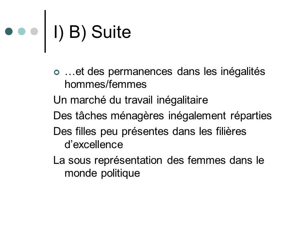 I) B) Suite …et des permanences dans les inégalités hommes/femmes Un marché du travail inégalitaire Des tâches ménagères inégalement réparties Des fil