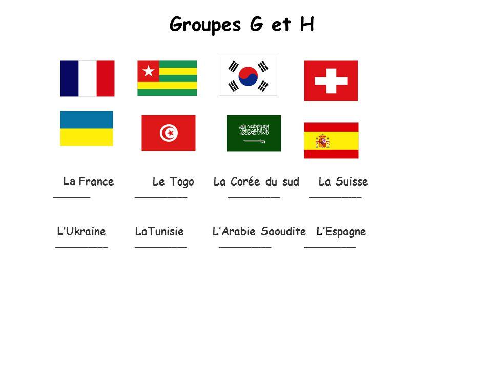 Groupes G et H La France Le Togo La Corée du sud La Suisse ________ ___________ ___________ ___________ L Ukraine LaTunisie LArabie Saoudite LEspagne ___________ ___________ ___________ ___________