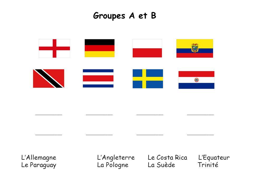 Groupes A et B ____________________________________________ LAllemagneLAngleterreLe Costa RicaLEquateur Le ParaguayLa PologneLa Suède Trinité ____________________________________________