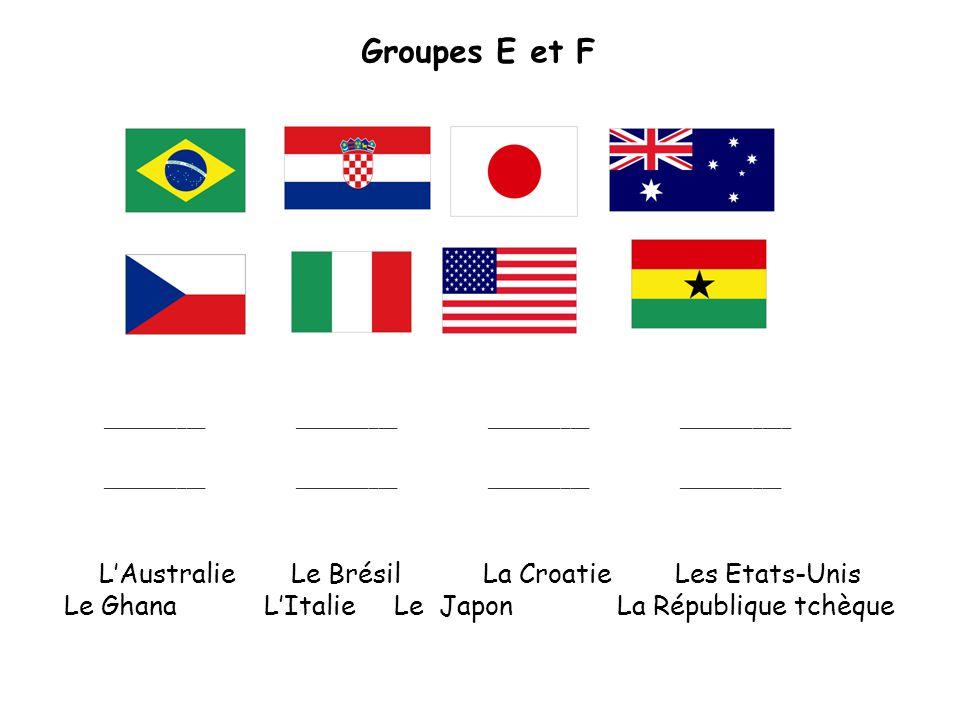 Groupes E et F ____________________________________________ _____________________________________________ LAustralieLe Brésil La CroatieLes Etats-Unis Le Ghana LItalie Le Japon La République tchèque