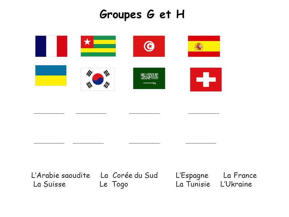 Groupes G et H ___________ ___________ LArabie saoudite La Corée du SudLEspagne LaFrance La Suisse Le TogoLa Tunisie LUkraine ___________ ___________