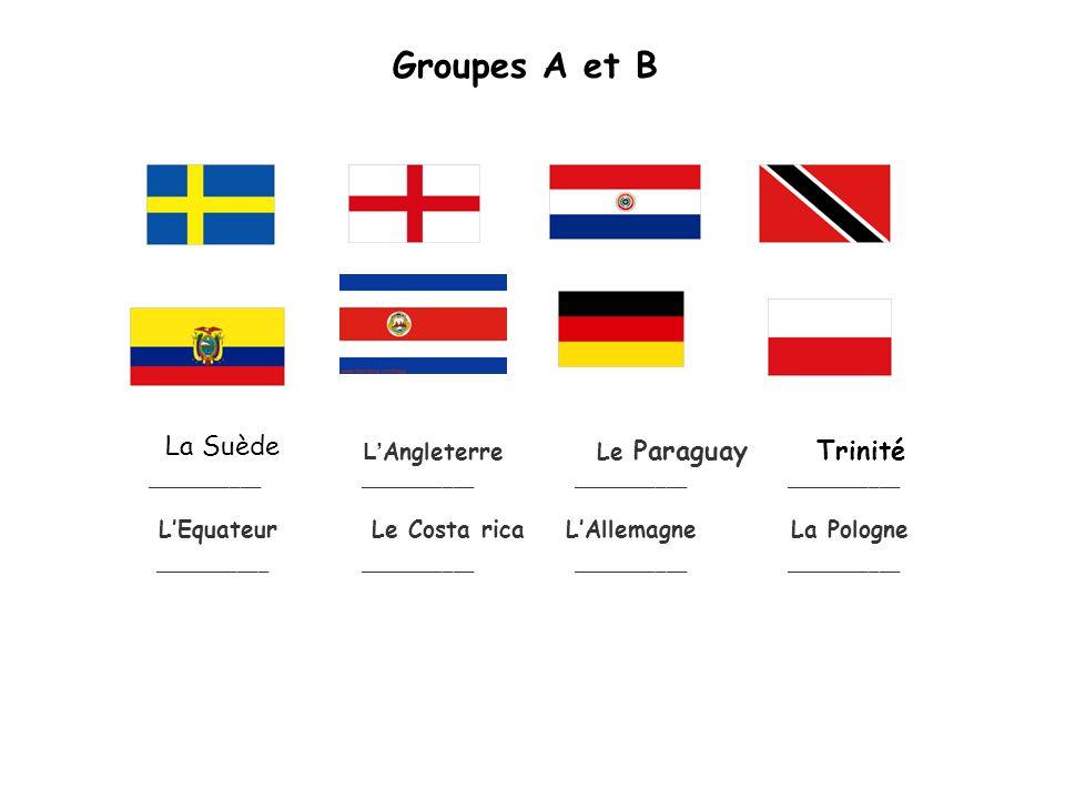 Groupes A et B L Angleterre Le Paraguay Trinité ____________________________________________ LEquateur Le Costa rica LAllemagne La Pologne ____________________________________________ La Suède