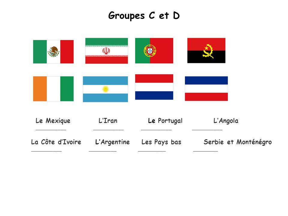 Groupes C et D La Côte dIvoire LArgentine Les Pays bas Serbie et Monténégro _____________________ __________ _________ Le Mexique LIran Le Portugal LAngola ______________________ ___________ ___________