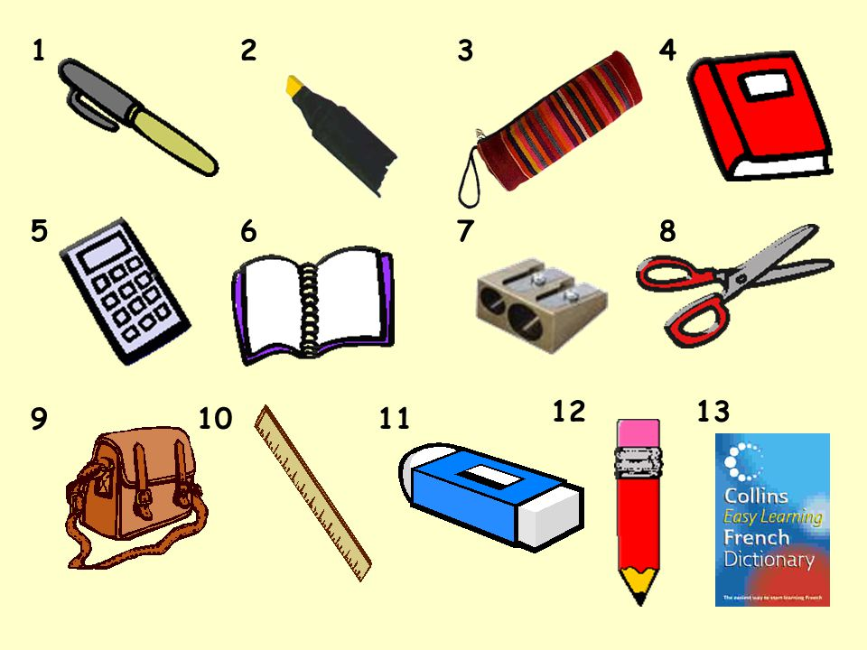 Your challenge today was… to recognise the French for at least 5 objects to know the French for at least 2 objects. lets try that one then … &