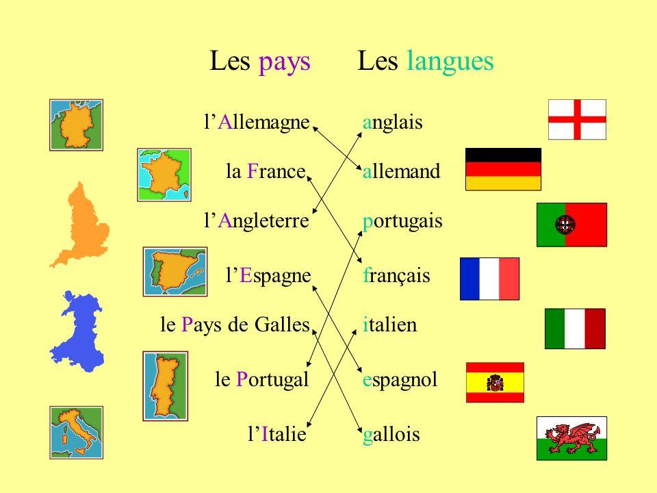 lAllemagne la France lAngleterre lEspagne le Pays de Galles le Portugal lItalie Les paysLes langues allemand anglais français portugais italien espagn