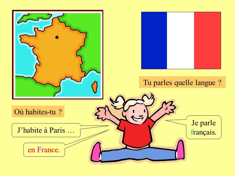 Où habites-tu ? Tu parles quelle langue ? Jhabite à Paris … Je parle français. en France.