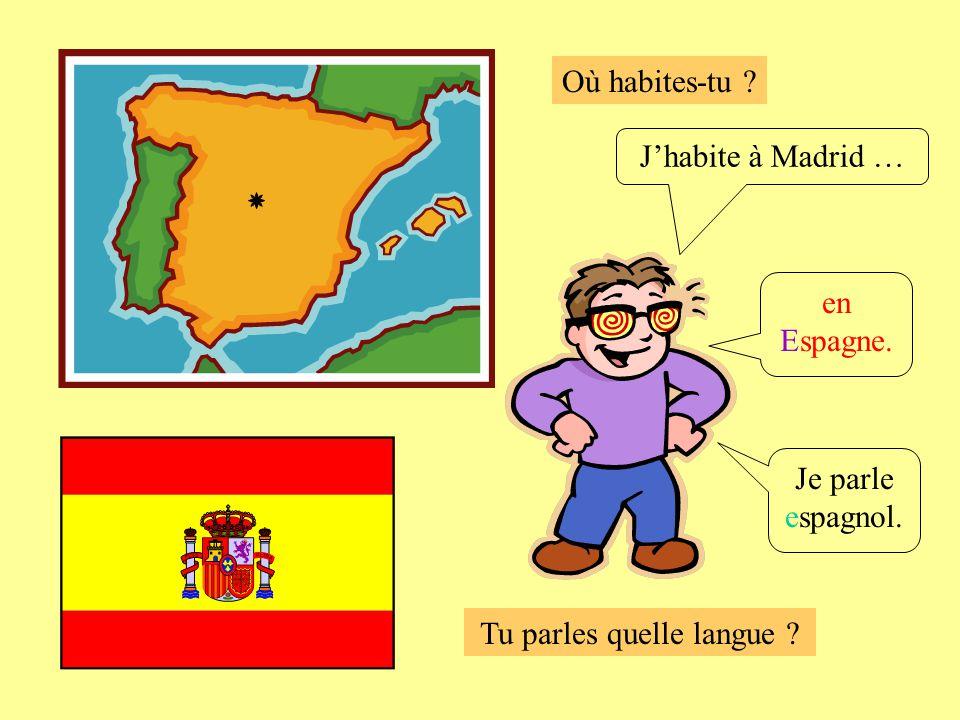 Où habites-tu ? Tu parles quelle langue ? Je parle espagnol. Jhabite à Madrid … en Espagne.