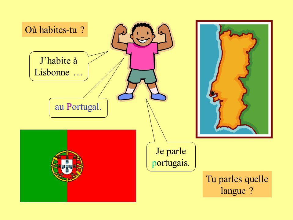 Où habites-tu ? Tu parles quelle langue ? Jhabite à Lisbonne … au Portugal. Je parle portugais.