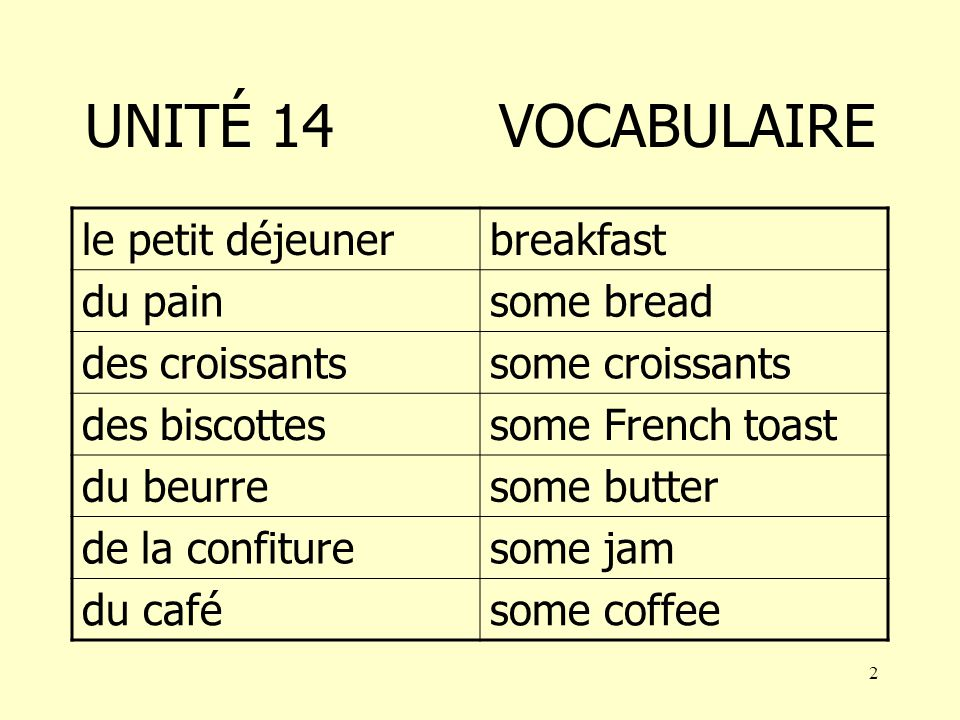 1 AU SECOURS UNITÉ 14 AIM to learn how to understand a breakfast menu and order items from it