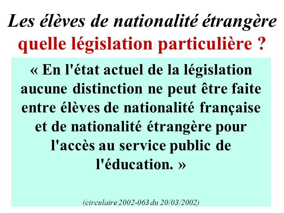 Les élèves de nationalité étrangère quelle législation particulière .
