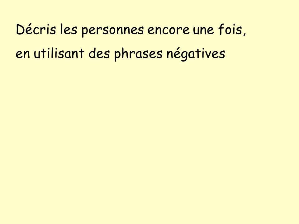 Des phrases négatives: Je ne suis pas grand Il nest pas gros Nous ne sommes pas de taille-moyenne Elles ne sont pas mince ____ ne ____ pas ___