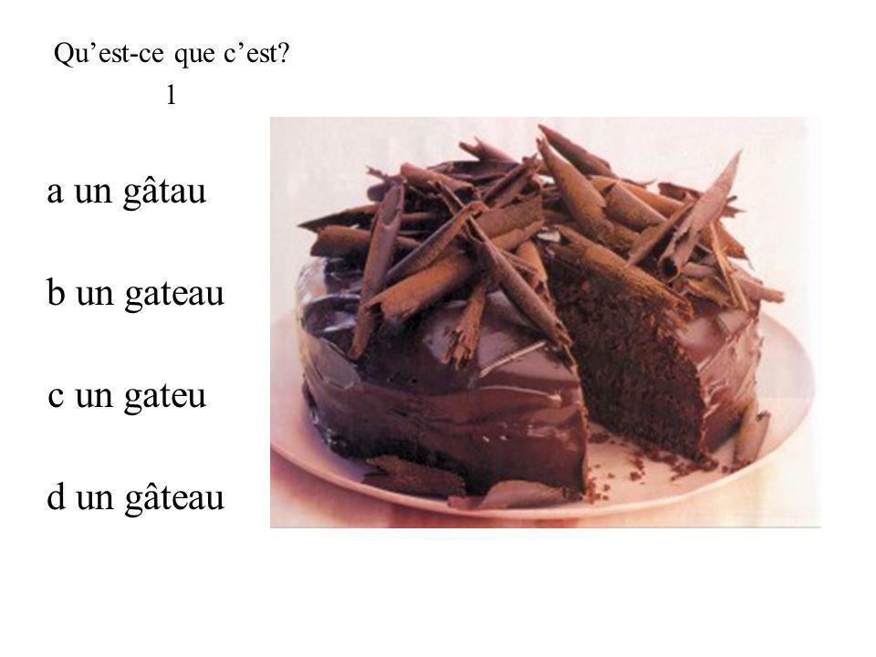 d un gâteau Quest-ce que cest? 1 c un gateu b un gateau a un gâtau
