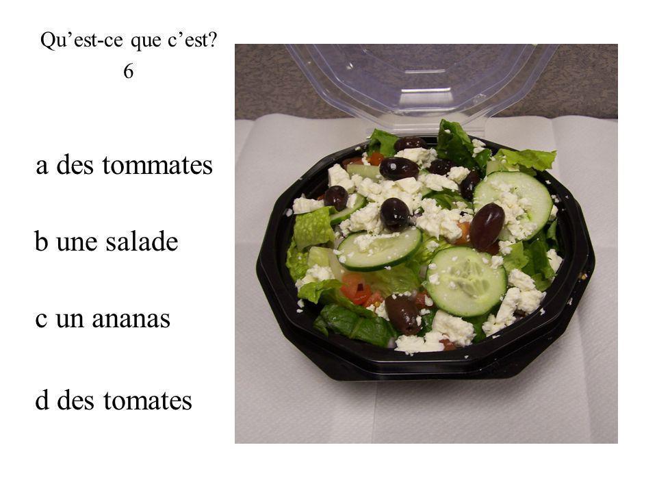 b une salade Quest-ce que cest? 6 d des tomates a des tommates c un ananas
