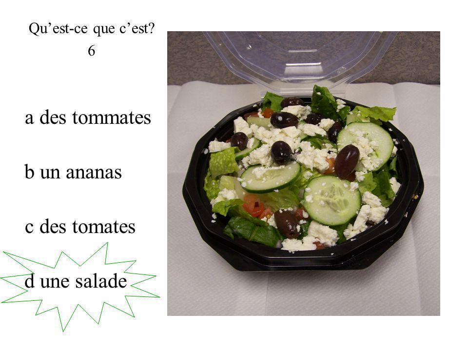 d une salade Quest-ce que cest 6 c des tomates a des tommates b un ananas