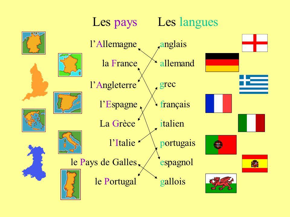 lAllemagne la France lAngleterre lEspagne le Pays de Galles le Portugal lItalie Les paysLes langues allemand anglais français portugais italien espagnol gallois La Grèce grec