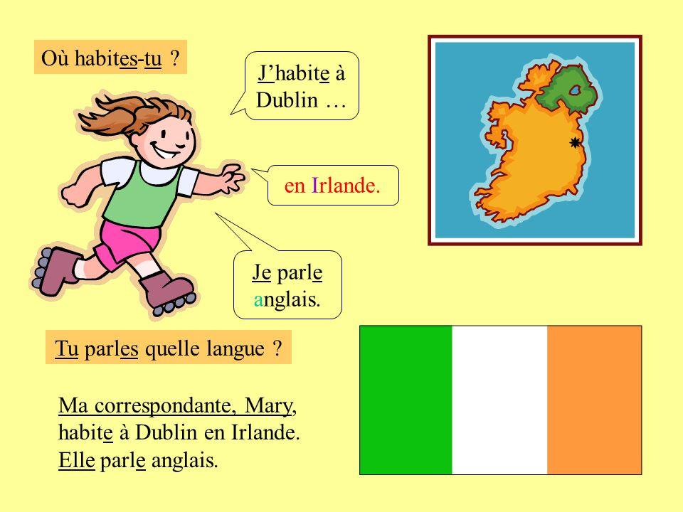Où habites-tu ? Jhabite à Dublin … en Irlande. Je parle anglais. Ma correspondante, Mary, habite à Dublin en Irlande. Elle parle anglais. Tu parles qu