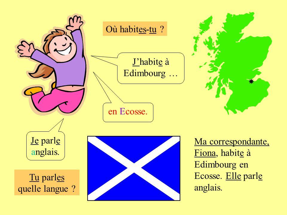 Où habites-tu .Jhabite à Edimbourg … Je parle anglais.