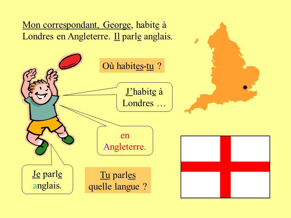 Où habites-tu ? Jhabite à Londres … Je parle anglais. en Angleterre. Mon correspondant, George, habite à Londres en Angleterre. Il parle anglais. Tu p