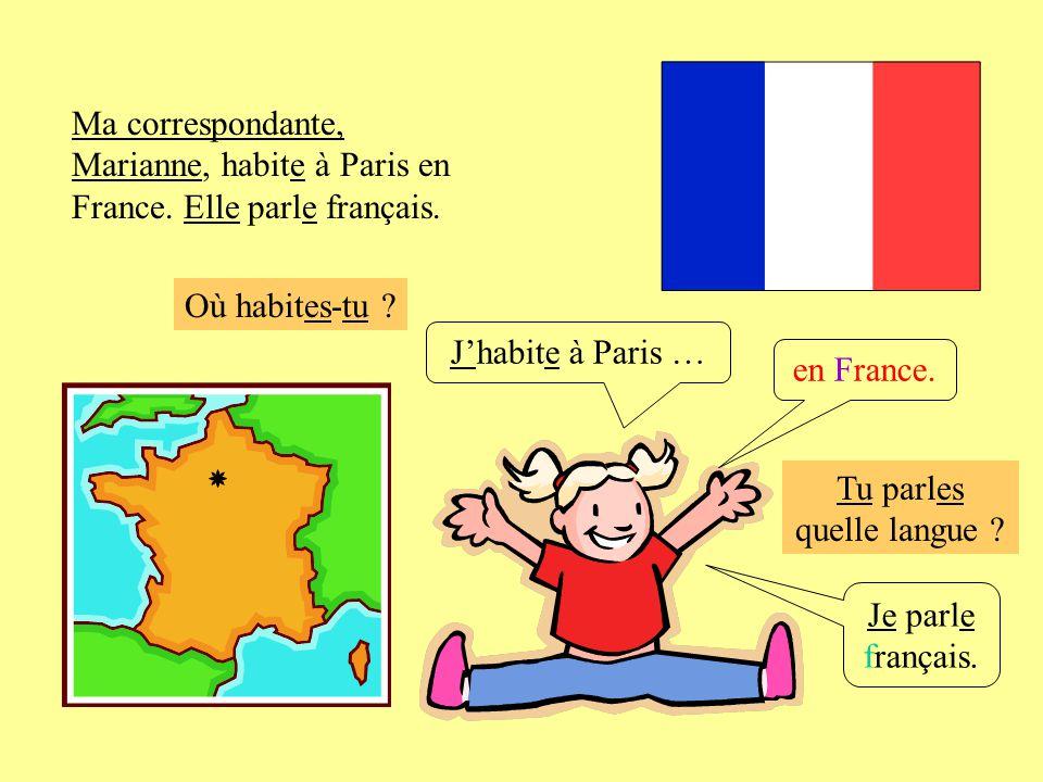 Où habites-tu ? Jhabite à Paris … Je parle français. en France. Ma correspondante, Marianne, habite à Paris en France. Elle parle français. Tu parles