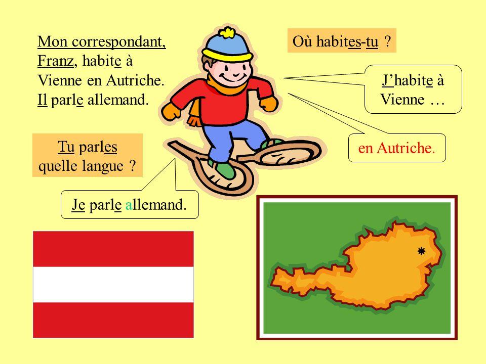 Où habites-tu ? Jhabite à Vienne … en Autriche. Je parle allemand. Mon correspondant, Franz, habite à Vienne en Autriche. Il parle allemand. Tu parles