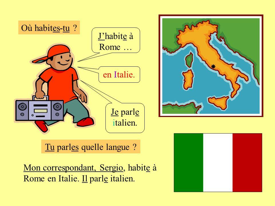 Où habites-tu ? Jhabite à Rome … en Italie. Je parle italien. Mon correspondant, Sergio, habite à Rome en Italie. Il parle italien. Tu parles quelle l
