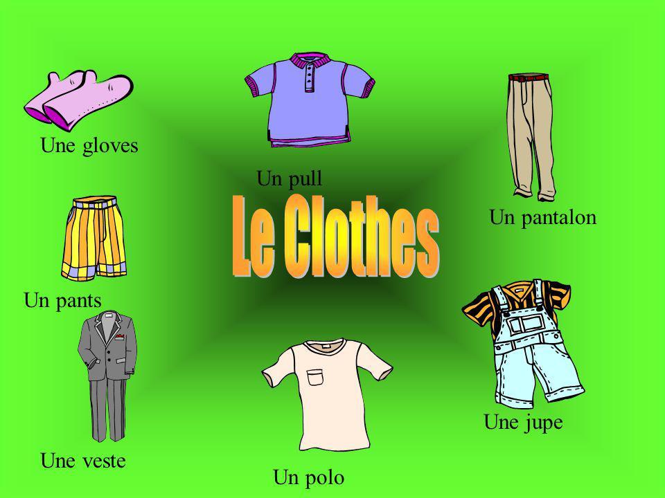 Une gloves Un pull Un pantalon Une jupe Un pants Une veste Un polo