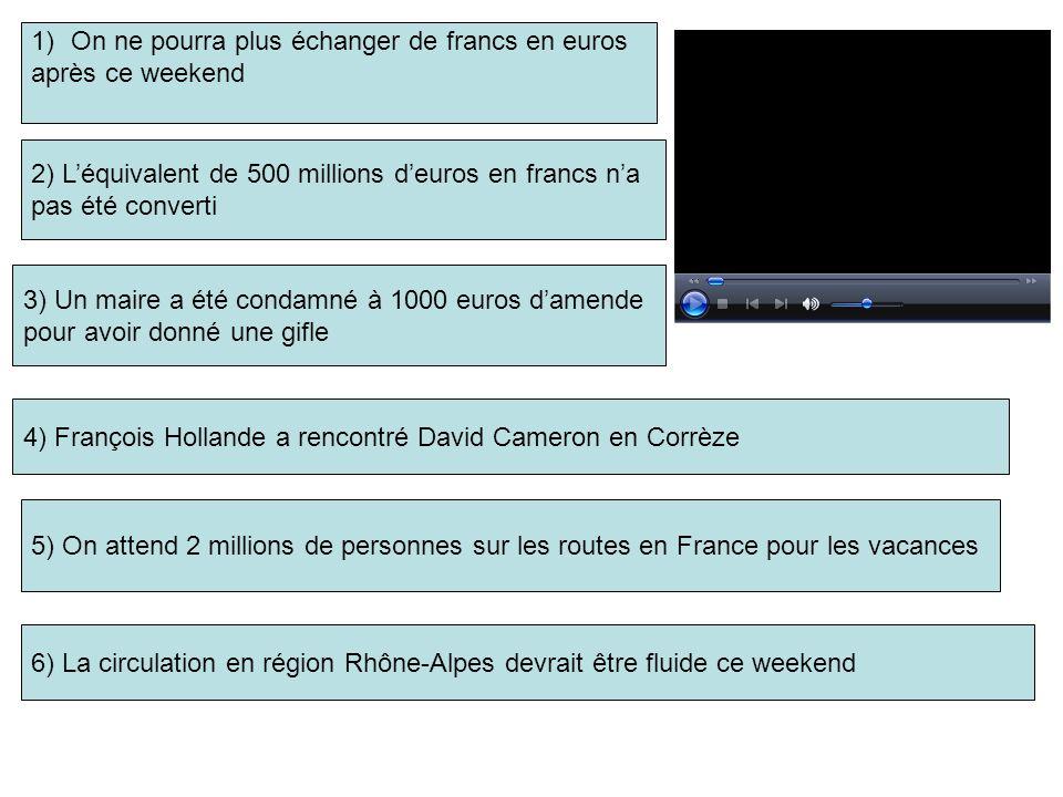 1)On ne pourra plus échanger de francs en euros après ce weekend 2) Léquivalent de 500 millions deuros en francs na pas été converti 3) Un maire a été condamné à 1000 euros damende pour avoir donné une gifle 5) On attend 2 millions de personnes sur les routes en France pour les vacances 4) François Hollande a rencontré David Cameron en Corrèze 6) La circulation en région Rhône-Alpes devrait être fluide ce weekend
