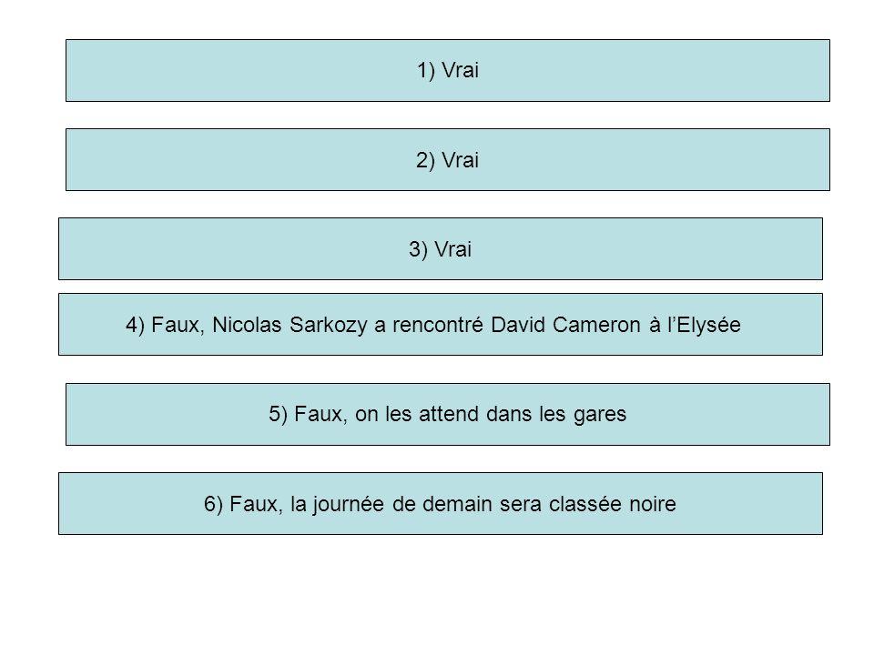 1) Vrai 2) Vrai 3) Vrai 5) Faux, on les attend dans les gares 6) Faux, la journée de demain sera classée noire 4) Faux, Nicolas Sarkozy a rencontré David Cameron à lElysée
