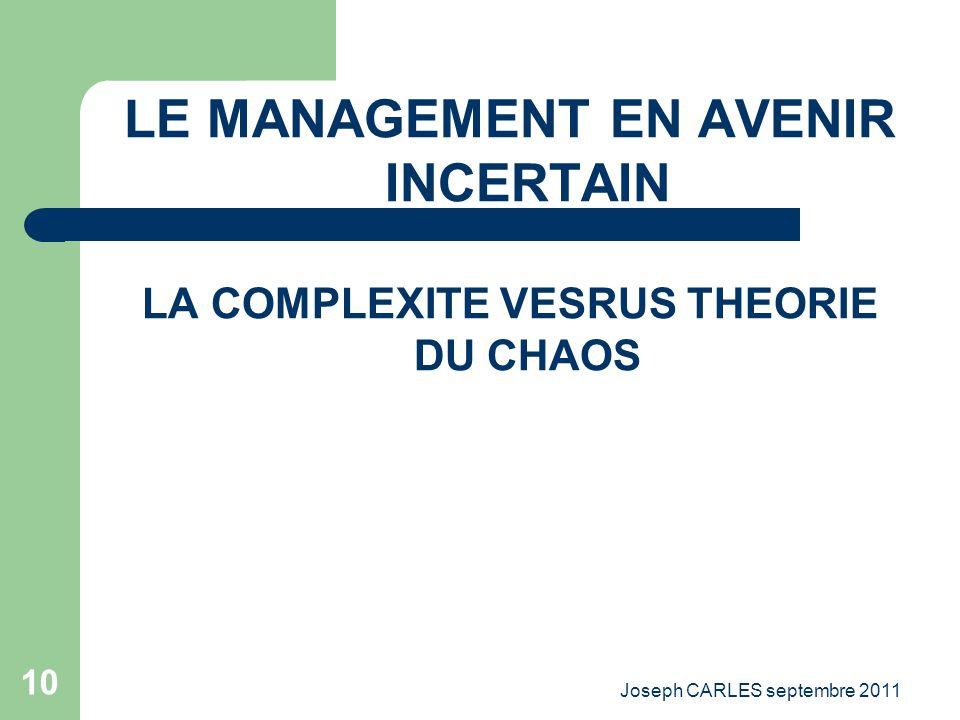 Joseph CARLES septembre 2011 9 La nécessité de connaître ce qui se passe autour du cadre dirigeant Les grandes mutations et la décision