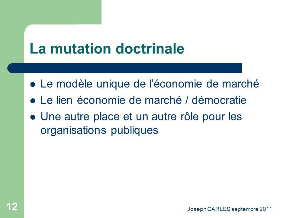 Joseph CARLES septembre 2011 11 Les grandes mutations La mutation doctrinale La mutation économique La mutation des technologies La mutation sociologi