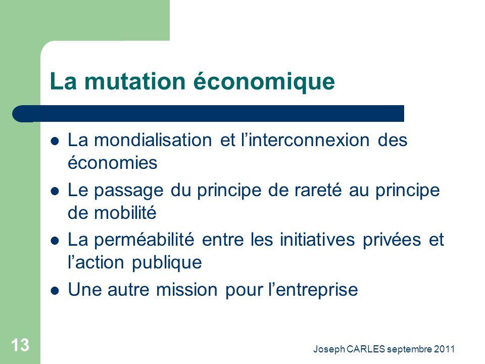 Joseph CARLES septembre 2011 12 La mutation doctrinale Le modèle unique de léconomie de marché Le lien économie de marché / démocratie Une autre place