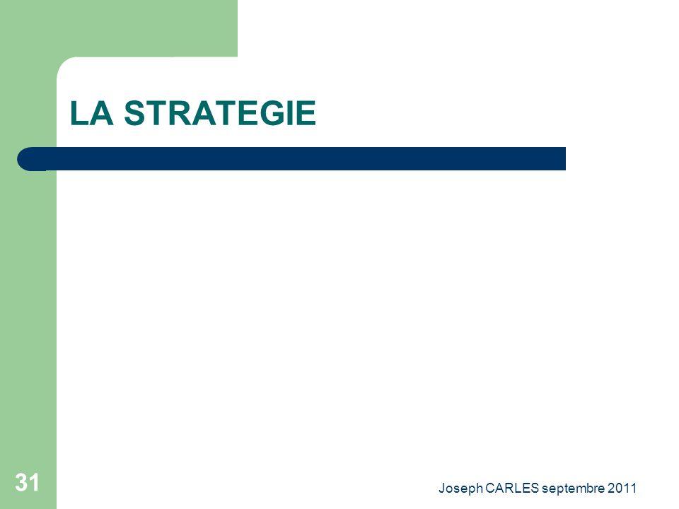 Joseph CARLES septembre 2011 30 Les modes de décision Stratégique Tactique Opérationnelle PROCESSUS ITERATIF DECISION