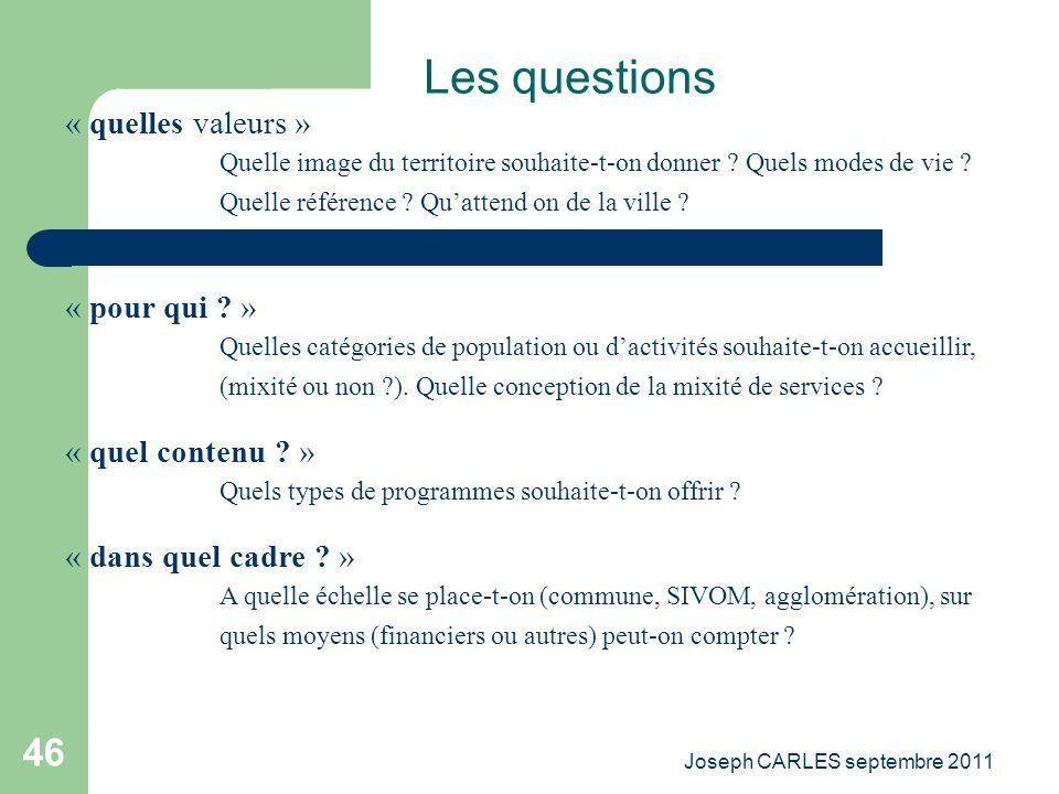 Joseph CARLES septembre 2011 45 Le mécanisme prélèvement /distribution Organisations publiques Entreprises Ménages Fondations