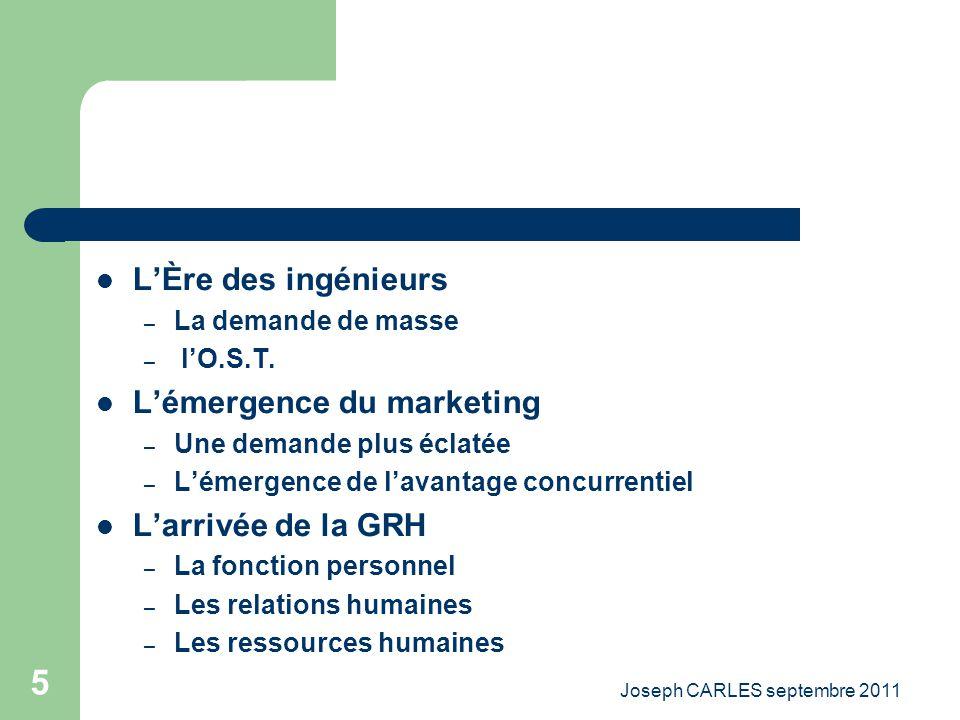 Joseph CARLES septembre 2011 4 Les Grandes Étapes De Lévolution Du Management et des stratégies A / la période de lentrepreneur – La prise de risque –