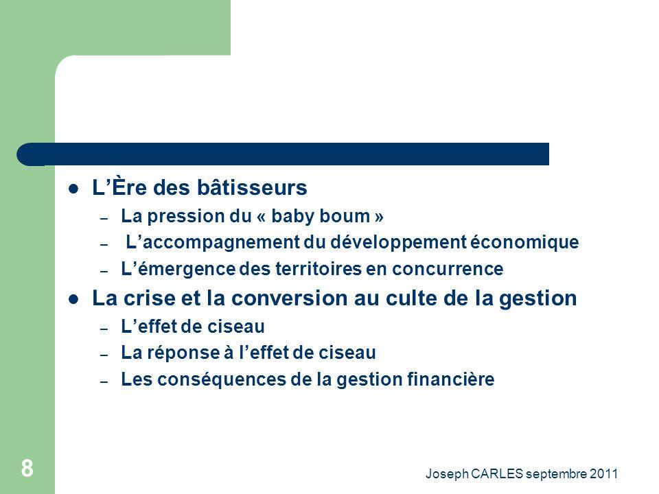 Joseph CARLES septembre 2011 7 Dans les collectivités publiques La période de ladministration « notabilaire » – Le rôle central de lEtat – Les collect