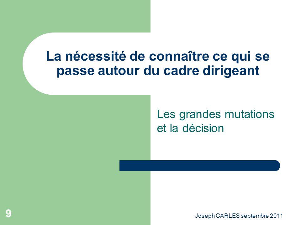 Joseph CARLES septembre 2011 8 LÈre des bâtisseurs – La pression du « baby boum » – Laccompagnement du développement économique – Lémergence des terri