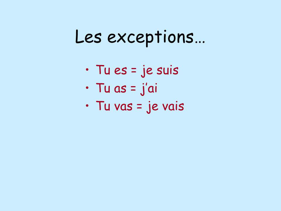 Les exceptions… Tu es = je suis Tu as = jai Tu vas = je vais