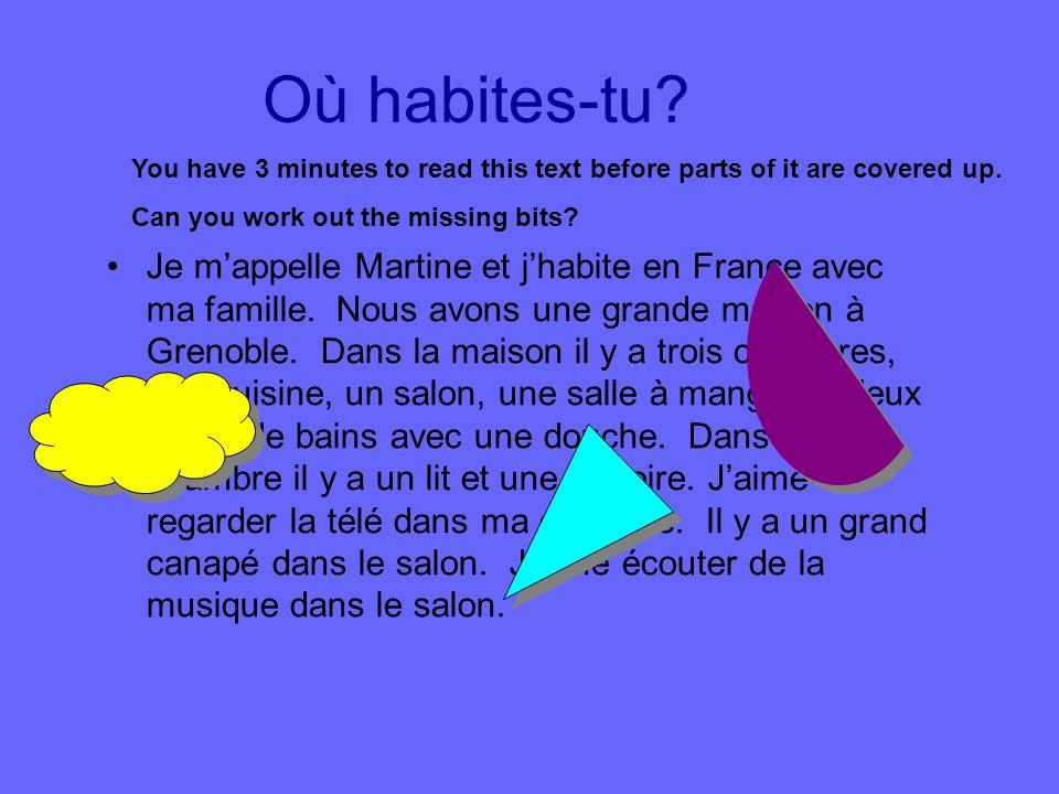 Où habites-tu? Je mappelle Martine et jhabite en France avec ma famille. Nous avons une grande maison à Grenoble. Dans la maison il y a trois chambres