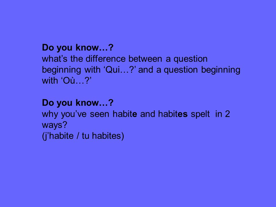 Qui….Listen to and practise the pronunciation of qui.