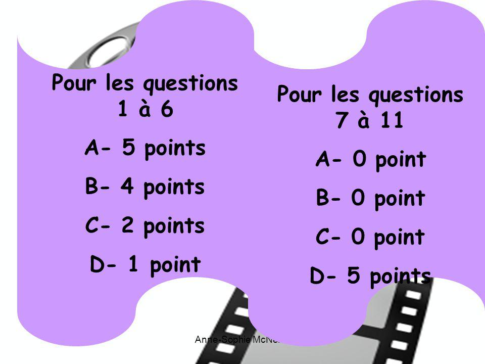 Pour les questions 1 à 6 A- 5 points B- 4 points C- 2 points D- 1 point Pour les questions 7 à 11 A- 0 point B- 0 point C- 0 point D- 5 points