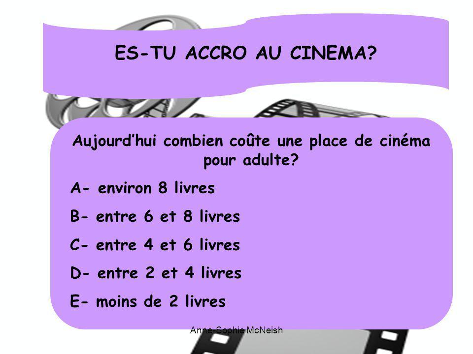ES-TU ACCRO AU CINEMA? Aujourdhui combien coûte une place de cinéma pour adulte? A- environ 8 livres B- entre 6 et 8 livres C- entre 4 et 6 livres D-