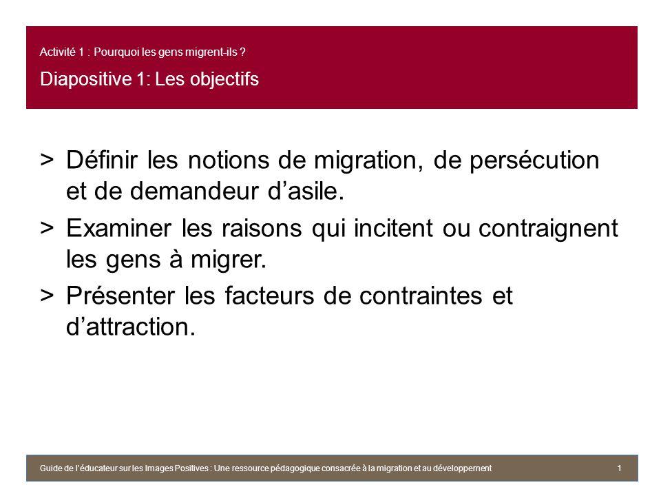 Activité 1 : Pourquoi les gens migrent-ils ? Diapositive 1: Les objectifs >Définir les notions de migration, de persécution et de demandeur dasile. >E