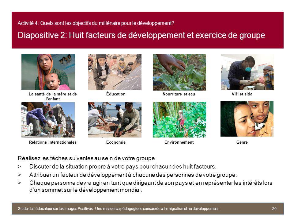 Activité 4: Quels sont les objectifs du millénaire pour le développement? Diapositive 2: Huit facteurs de développement et exercice de groupe Réalisez