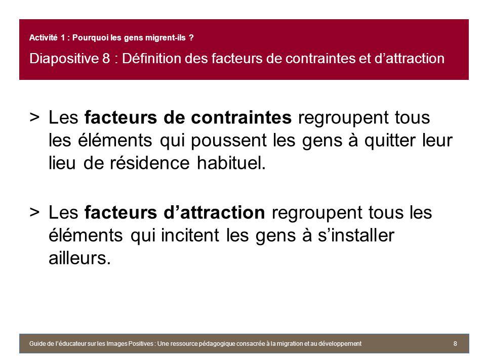 Activité 1 : Pourquoi les gens migrent-ils ? Diapositive 8 : Définition des facteurs de contraintes et dattraction >Les facteurs de contraintes regrou