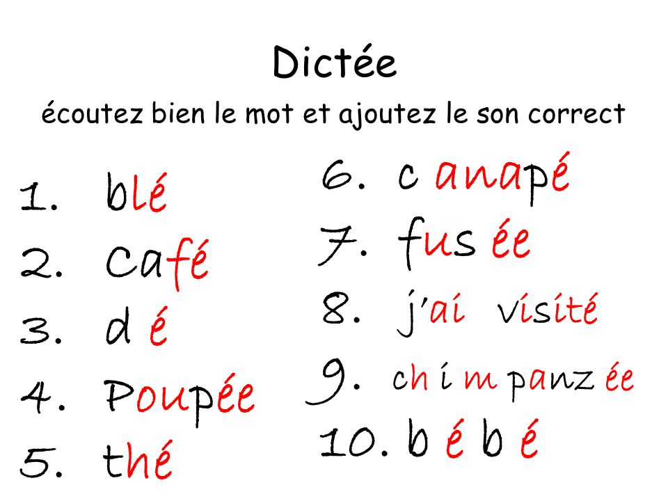Dictée écoutez bien le mot et ajoutez le son correct 1.blé 2.Café 3.d é 4.Poupée 5.thé 6.