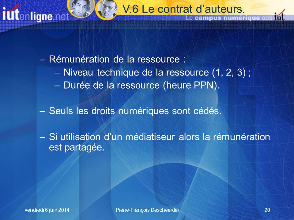 vendredi 6 juin 2014Pierre-François Descheerder20 V.6 Le contrat dauteurs.
