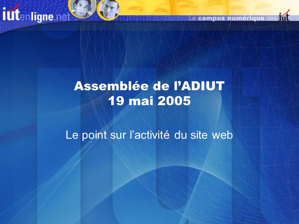 Assemblée de lADIUT 19 mai 2005 Le point sur lactivité du site web